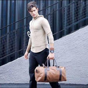 Large Vegan Leather Men's Traveler - Camel